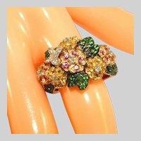 14k Yellow & White Gold, Diamonds, Tsavorite Garnets, Yellow Sapphires, Pink Sapphires Bouquet Ring, Size 7 ½, Incl. Recent Appraisal