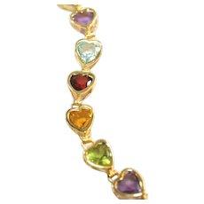 14k Vintage Gemstone Heart Bracelet, Blue Topaz, Peridot, Amethyst, Peridot, Garnet