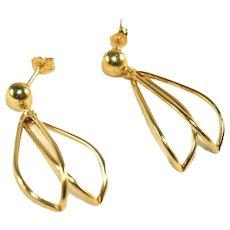 14k Open Petals Vintage Pierced Earrings, Posts