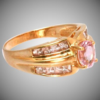 14k Gold Pink Sapphires Vintage Ring, 20 Square Cut Channel Set Accent Sapphires, Size 9