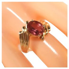 14k Yellow Gold Large Pink Tourmaline Bypass Ring, Size 8