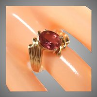 14k Yellow Gold Large Pink Tourmaline Bypass Ring, Size 8