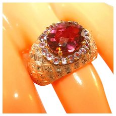 14k Yellow Gold Large Pink Tourmaline, Halo of Tanzanites, Basketweave Diamonds Domed Ring, Size 7, Incl. Recent Appraisal
