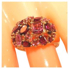 14k Yellow Gold Magnificent Pink Tourmaline & Rhodolite Garnet Cluster Ring, Incl. Recent Appraisal Size 7 ½