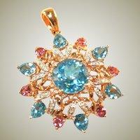 14k Vintage Yellow, Pink & White Gold Large Pink Tourmaline, Blue Topaz & Diamond Starburst Pendant, 6 Grams!