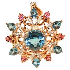 14k Vintage Yellow, Pink & White Gold Large Pink Tourmaline, Blue Topaz & Diamond Starburst Pendant, 6 Grams!
