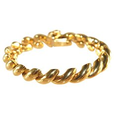 14k Yellow Gold Vintage Italian Hand Made San Marco Link Bracelet, 26 Grams!