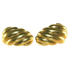 "14k Gold Scalloped Shell Hollow 1"", One Inch Vintage Pierced Earrings, Posts"