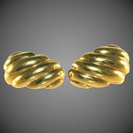 """14k Gold Scalloped Shell Hollow 1"""", One Inch Vintage Pierced Earrings, Posts"""