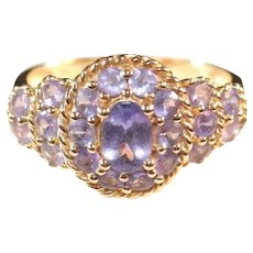 14k Yellow Gold & Tanzanite Cluster Ring, Size 10