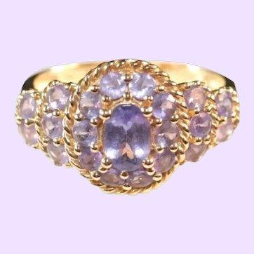 14k Yellow Gold & Tanzanite Cluster Ring, Size 10