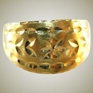 14k Yellow Gold Diamond Cut Cigar Band Unisex Ring, Size 10