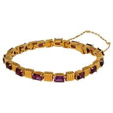 14k Heavy Gold & 15 Gem Quality Amethysts Vintage Tennis Bracelet, 1 Ounce!