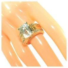 14kt Vintage Yellow Gold, Aquamarine & Diamond Ring, Over 11 Grams, Size 8