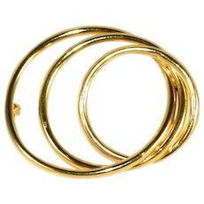 14k Gold Vintage 3 Circles Pin, So Many Circles, Just One Pin!