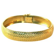 14K Solid Gold Vintage Diamond Cut Flexible Bangle Bracelet, 22.6 Grams or .8 Oz.!