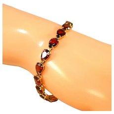 "14k Vintage Yellow Gold Deep Red Color Garnets Tennis Bracelet, Pear Shaped Stones, 7 ¼"""