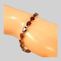 "14k Yellow Gold Deep Red Color Garnets Tennis Bracelet, Pear Shaped Stones, 7 ¼"""