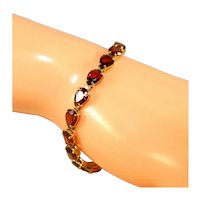 14k Yellow Gold Deep Red Color Garnets Tennis Bracelet, Pear Shaped Stones, 7 ¼""