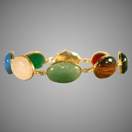 14k Vintage Scarab Multi – Gemstone Egyptian Revival Bracelet
