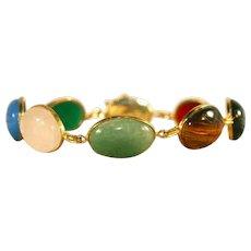 14k Vintage Scarab Multi – Gemstone Egyptian Revival Bracelet