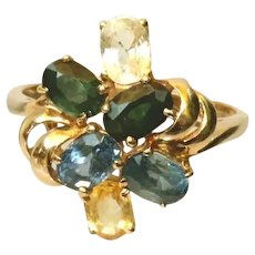 14k Sapphires Vintage Cocktail Ring, Multi-Colored, Size 9 ½