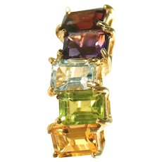 14k Multi Gemstone Vintage Pierced Earrings, Blue Topaz, Citrine, Garnet, Amethyst, Peridot