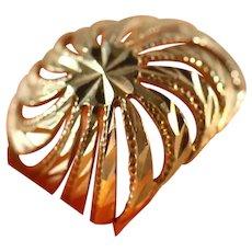 14k Yellow Gold Spiral Filigree Domed Diamond Cut Unisex Ring, Size 9 ½