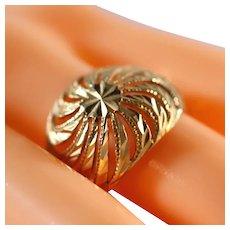 14k Yellow Gold Spiral Filigree Domed Diamond Cut Ring, Size 9 1/2