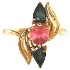 14k Yellow Gold Vintage Blue Sapphire & Pink Tourmaline Ring, Size 9 ½