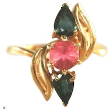 14k Yellow Gold Vintage Blue Sapphire & Pink Tourmaline Ring, Size 9 ½
