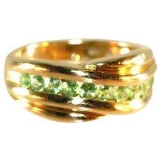 14k Yellow Gold Vintage Ten Open Back Tsavorite Gemstones Unisex Band Ring, 5.67 Grams, Size 8