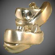 "14k Italian Brushed & Glossy White Gold Vintage ¾"" Criss Cross Earrings for Pierced Ears"