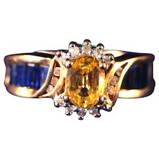 14kt Gold, Blue Sapphire Baguettes & Large Yellow Sapphire Center Stone Ring, Size 8