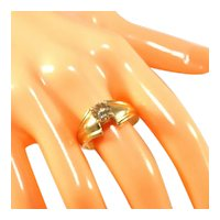 14K Yellow Gold & Pale Yellow Diamond Ring, Almost ½ Carat, Size 9
