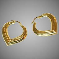 18k Italian Gold Vintage Large One Inch Hollow Hoop Pierced Earrings