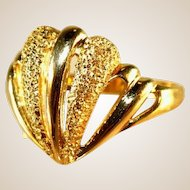 18K Yellow Gold Vintage Scalloped Shell Motif Cut Work Ring, Size 9 1/2