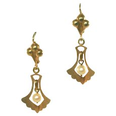 18kt Gold Antique Art Nouveau Pearl Leverback Ear Pendants, Earrings