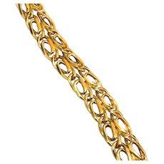 18k Yellow Gold Vintage Byzantine Style Unisex Substantial Gold Bracelet, 11.33 Grams, Safety