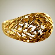 18k Yellow Gold Vintage Filigree Hollow Domed Ring, Size 9 ½, 2.83 Grams