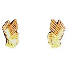 "18kt, 18k, 18 Carat Hollow Gold Criss Cross Earrings, Pierced, Posts, 1 ½"" Long, Almost 6 Grams"