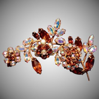 Extra Large 3 Inch Long Three Trembler Flowers Vintage Juliana Rhinestone Pin or Brooch