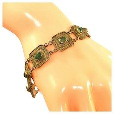 Gold Vermeil Filigree Emerald Paste Open Back Stones 800 Silver Bracelet
