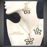 Better Than Sterling 950 Silver Flower Vintage Pendant & Pierced Earring Set, 85 Grams