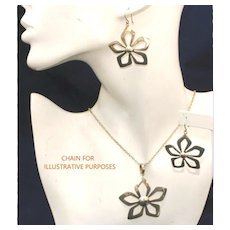 Better Than Sterling 950 Silver Flower Vintage Pendant & Pierced Earring Set, 85 Grams