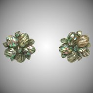 Aurora Borealis Carved Lucite Vintage Signed MADE AUSTRIA Clip Earrings