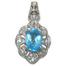 Art Deco 10k White Gold, Blue Topaz, Diamond Signed Pendant