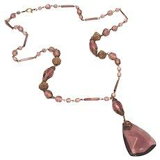 Art Deco Vintage Purple Glass Lavaliere Czech Signed Necklace