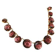 Vintage Large Amethyst Purple Glass Open Backed Stones Art Deco Graduated Necklace