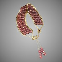 Art Deco Antique Amethyst Glass Bead Vintage Bracelet with Tassels